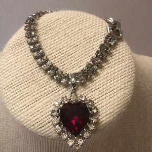 Vintage Coro crystal bracelet w heart charm